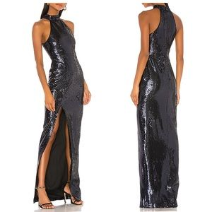 LIKELY Black Sequin Gown Dress